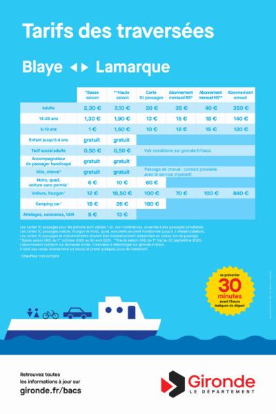 Les tarifs Blaye - Lamarque 2021