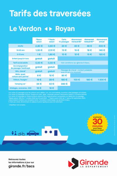 Les tarifs Royan - Le Verdon 2021