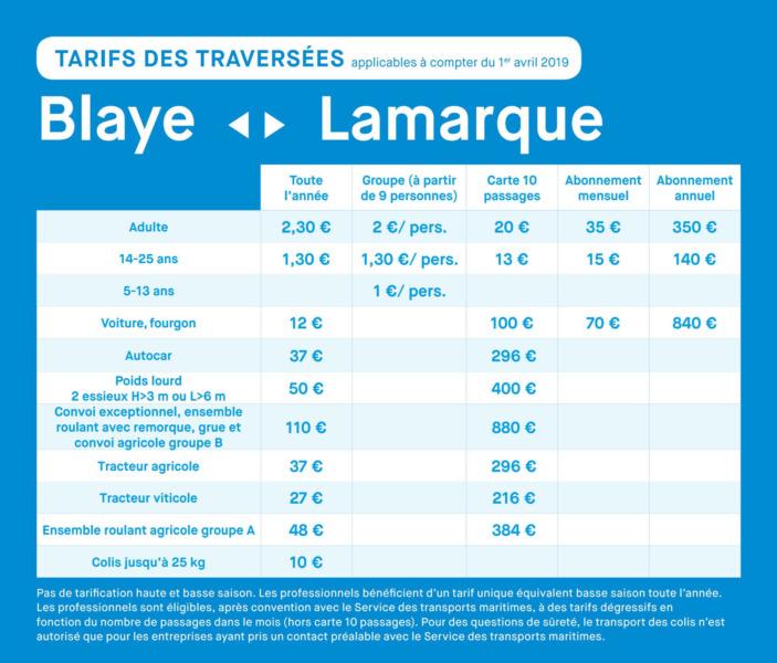 Les tarifs PRO Blaye - Lamarque 2021