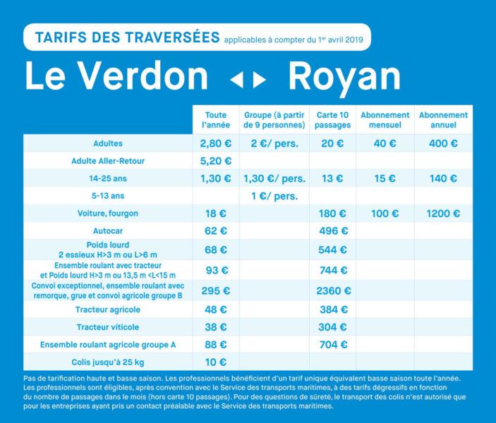 Les tarifs PRO Royan - Le Verdon 2021